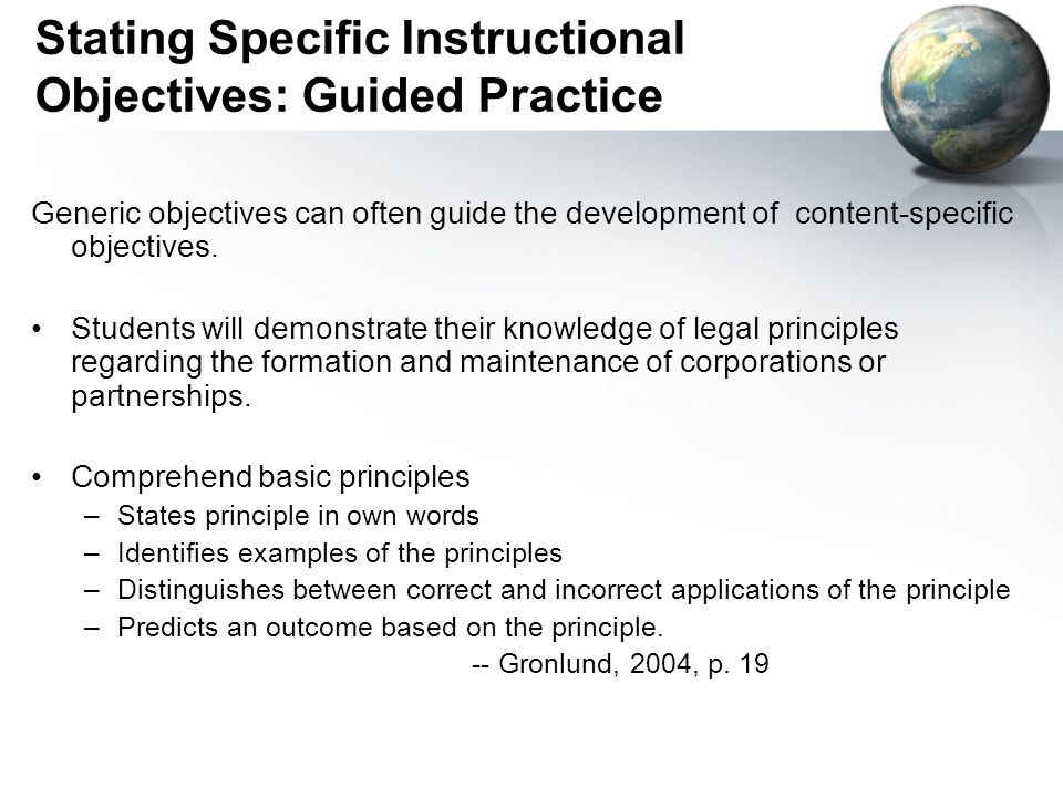 Stating Specific Instructional Objectives: Guided Practice