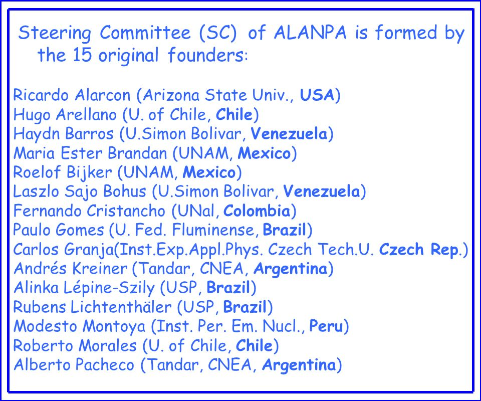 Steering Committee (SC) of ALANPA is formed by the 15 original founders: