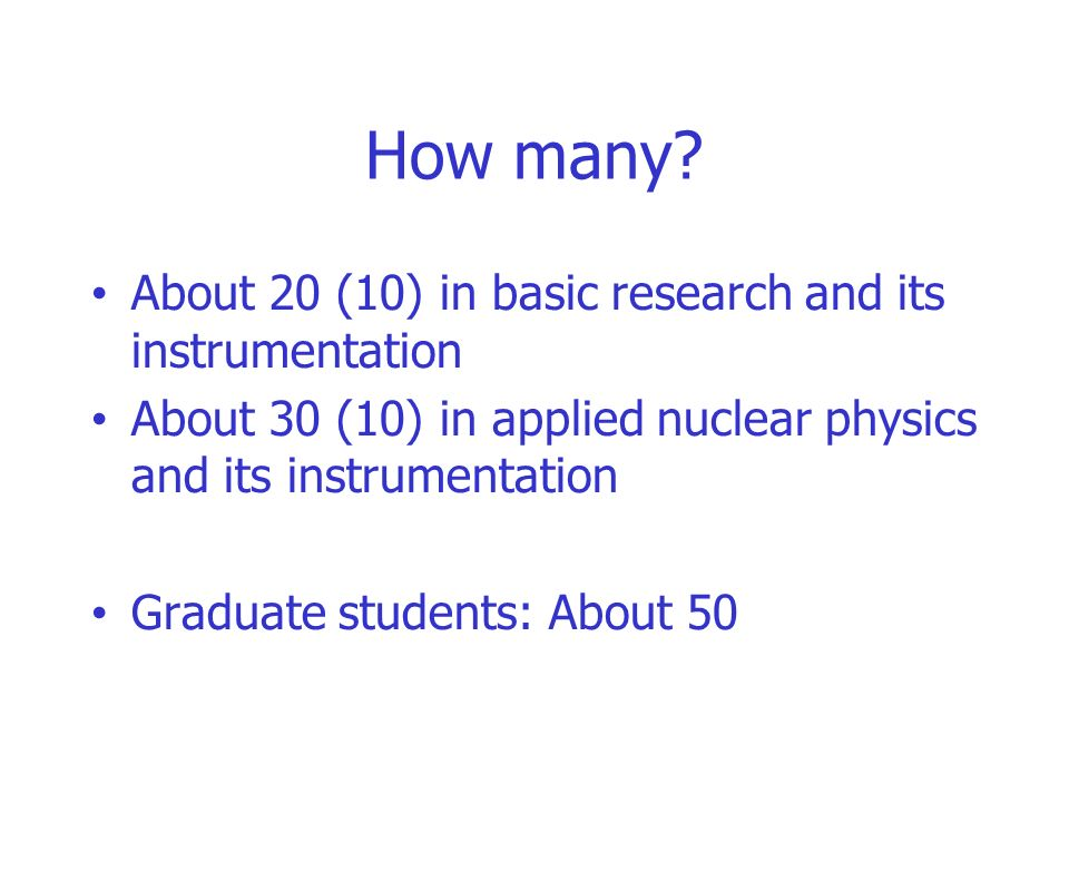 How many About 20 (10) in basic research and its instrumentation