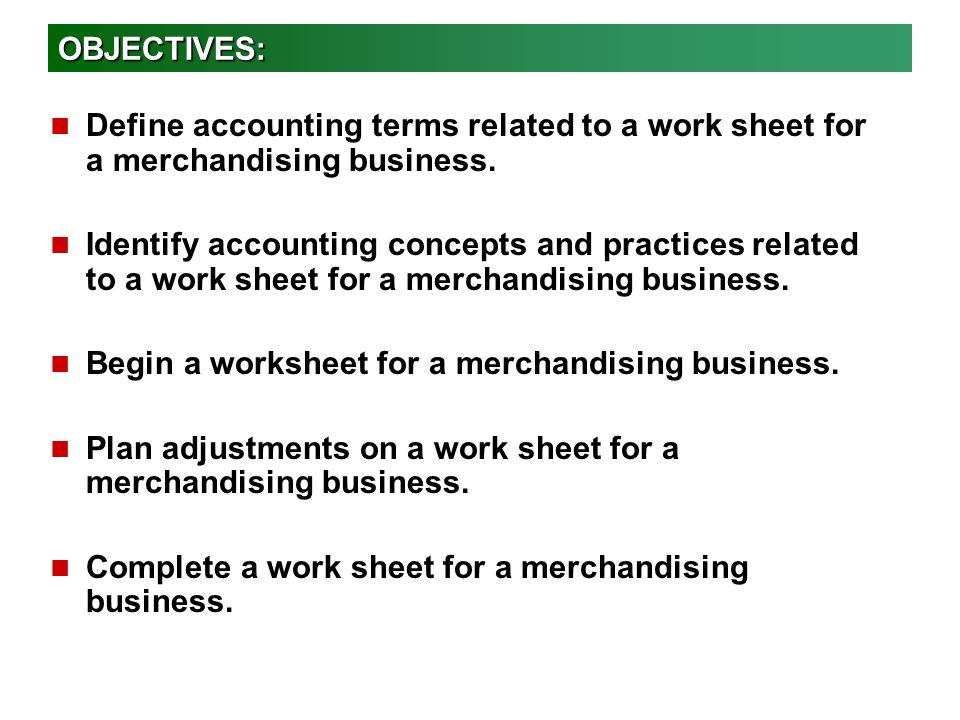 Worksheet for a Merchandising Business - ppt video online download