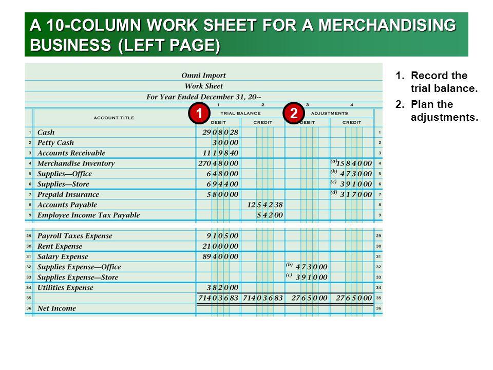 Worksheet for a Merchandising Business - ppt video online ...
