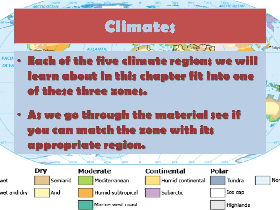 Climates Each of the five climate regions we will learn about in this chapter fit into one of these three zones.