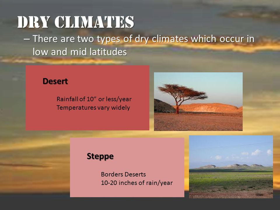 Dry Climates There are two types of dry climates which occur in low and mid latitudes. Desert. Rainfall of 10 or less/year.