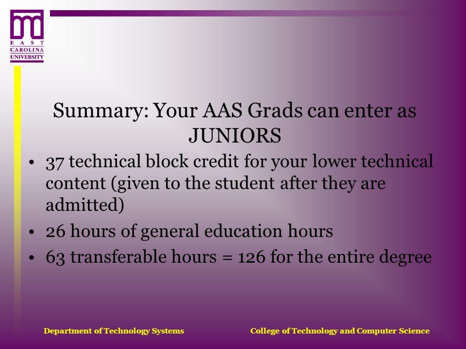 Summary: Your AAS Grads can enter as JUNIORS