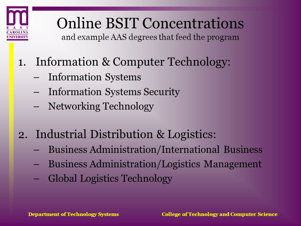 Online BSIT Concentrations and example AAS degrees that feed the program