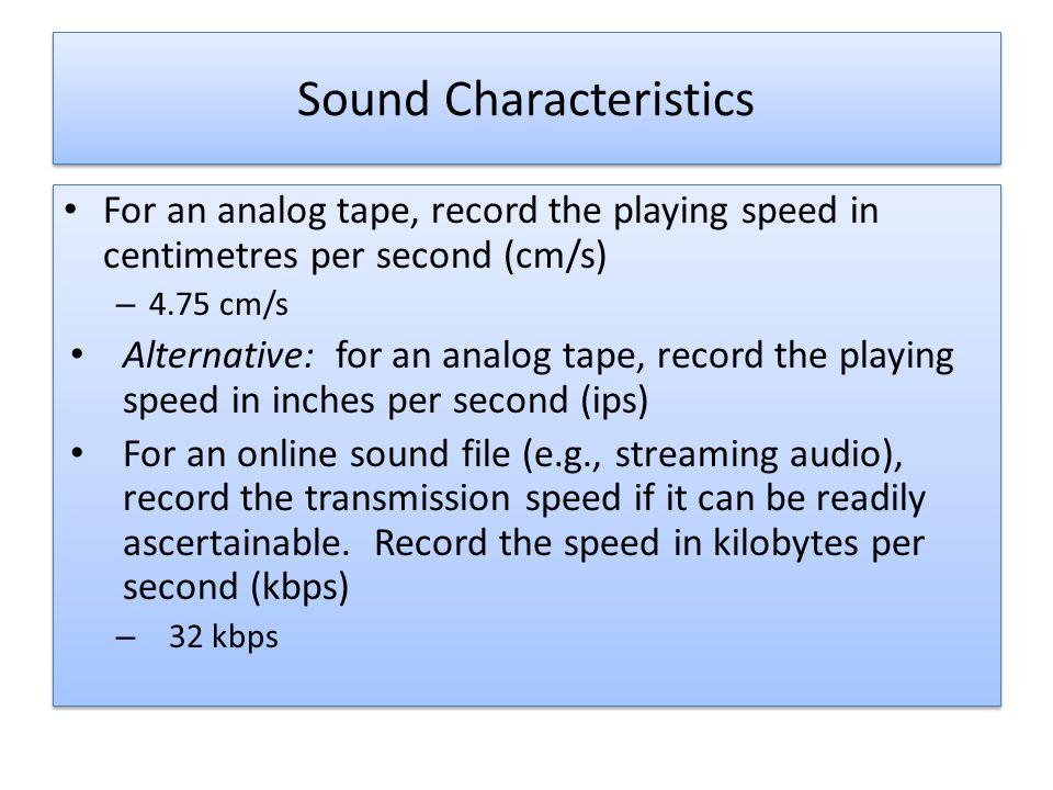 16 Sound Characteristics