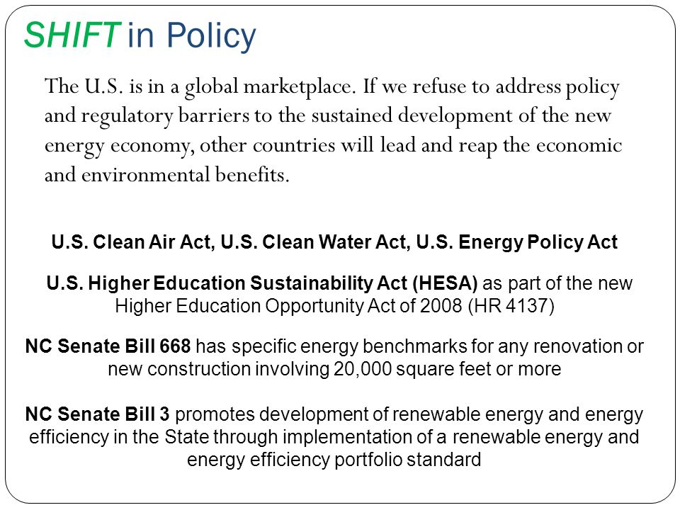 U.S. Clean Air Act, U.S. Clean Water Act, U.S. Energy Policy Act