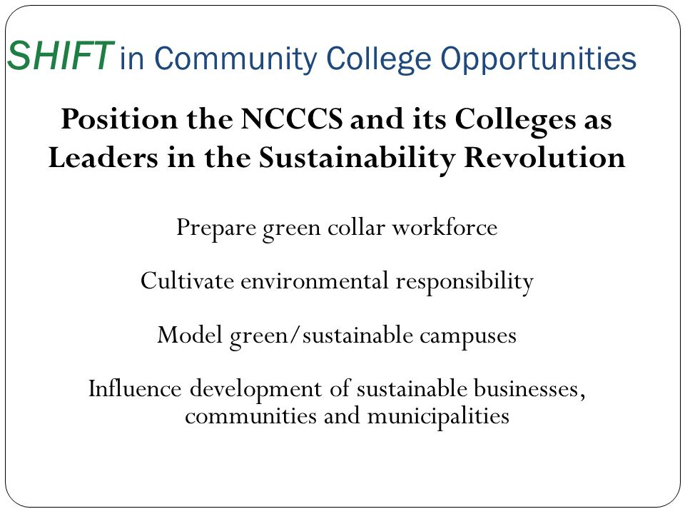 SHIFT in Community College Opportunities