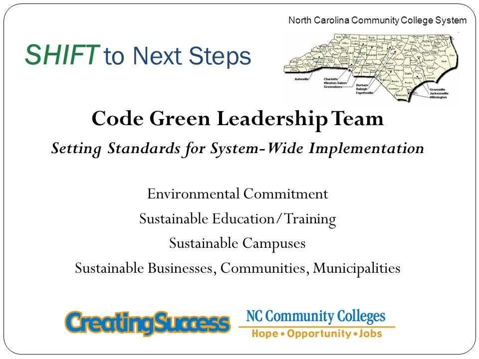 SHIFT to Next Steps Code Green Leadership Team