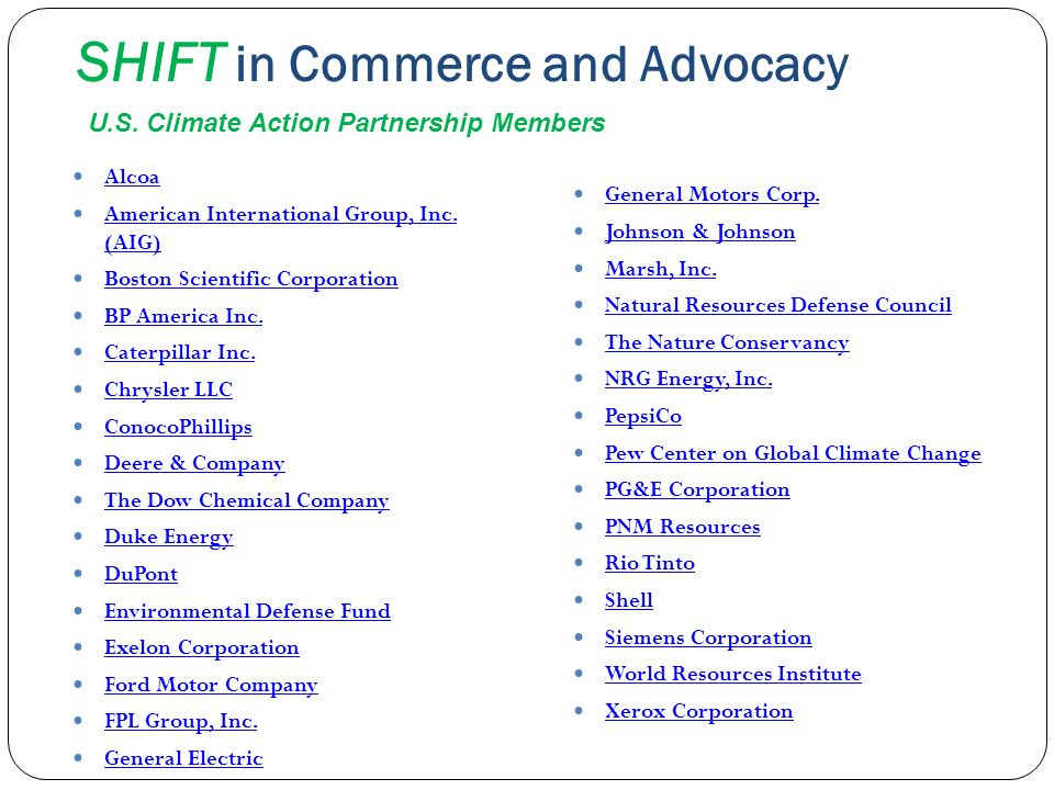 SHIFT in Commerce and Advocacy