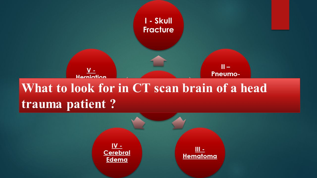 What to look for in CT scan brain of a head trauma patient