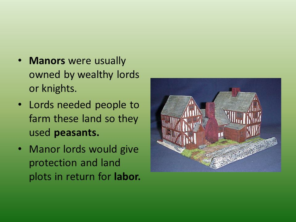 Manors were usually owned by wealthy lords or knights.