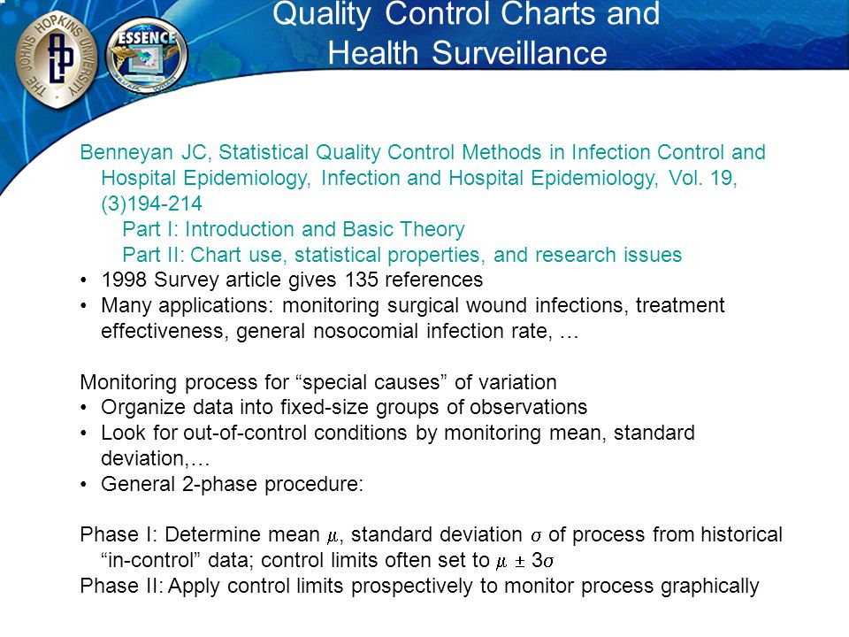 Quality Control Charts and Health Surveillance