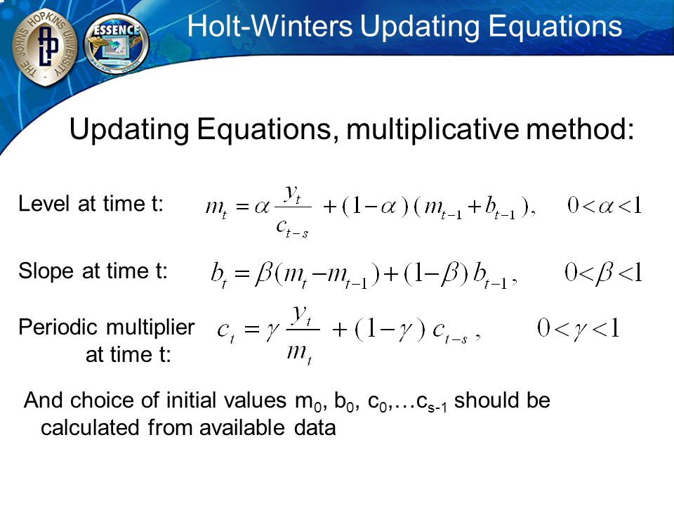 Holt-Winters Updating Equations