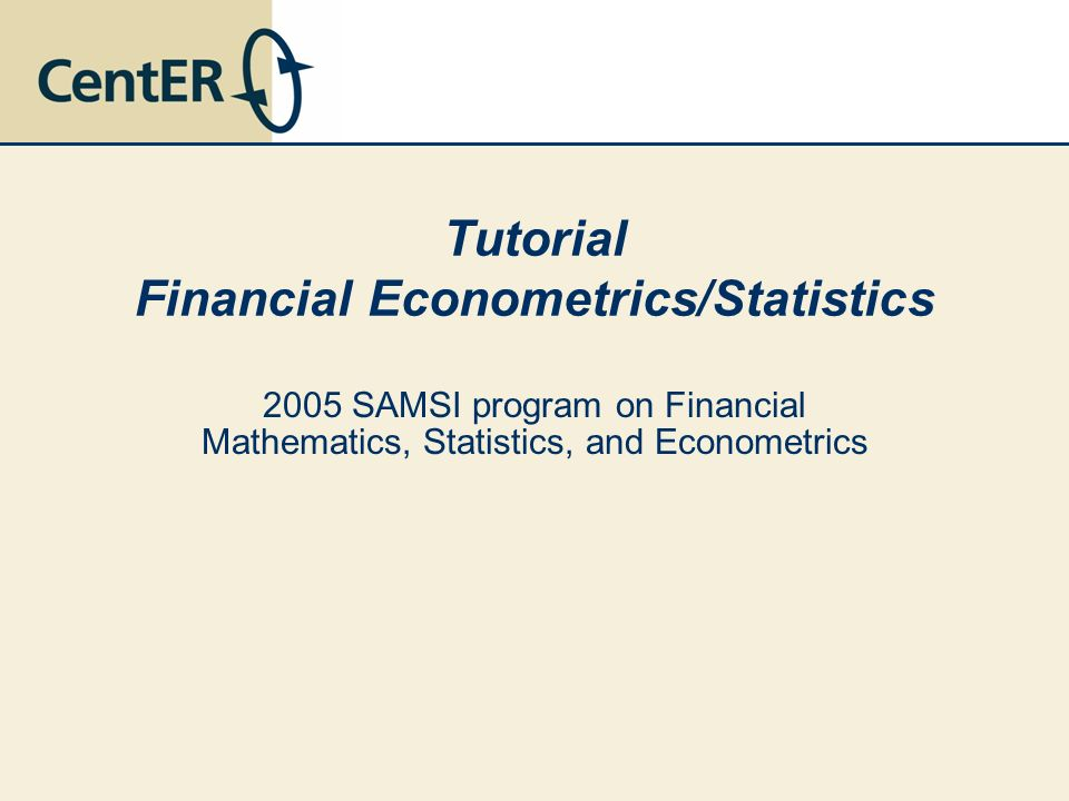 Tutorial Financial Econometrics/Statistics