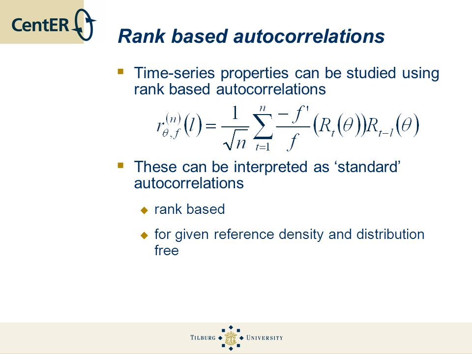 Rank based autocorrelations