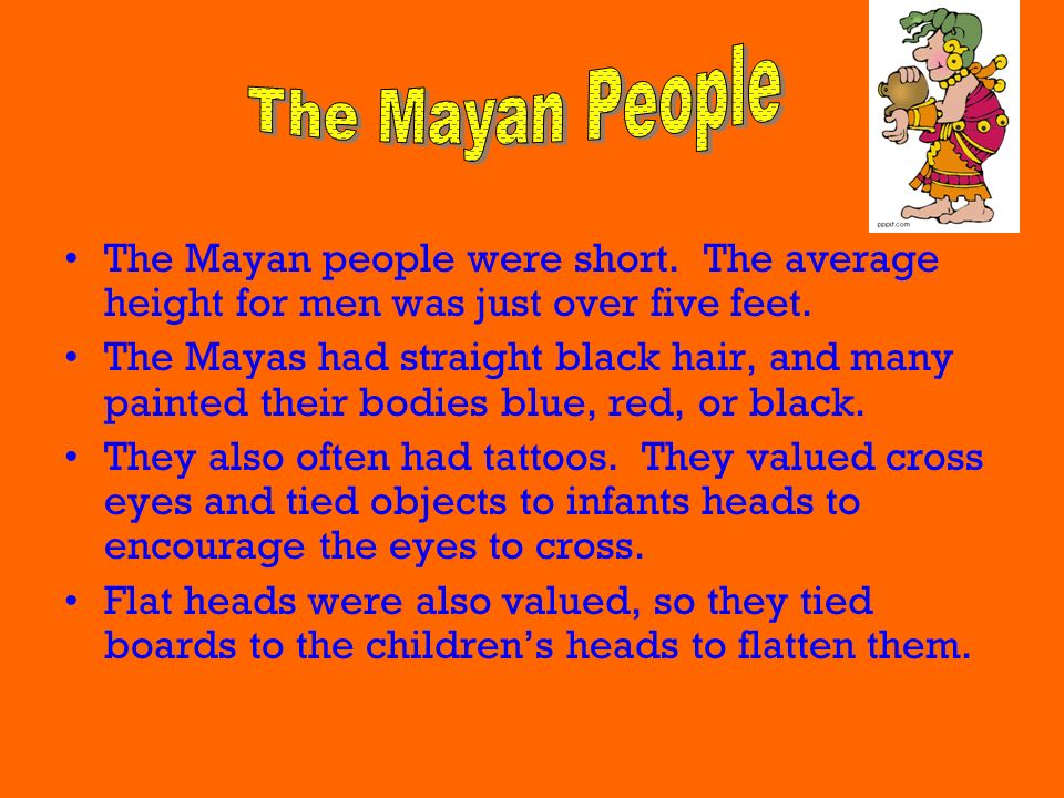 The Mayan People The Mayan people were short. The average height for men was just over five feet.