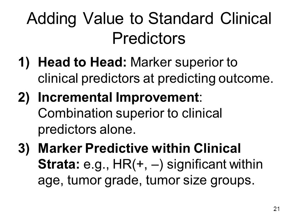 Adding Value to Standard Clinical Predictors