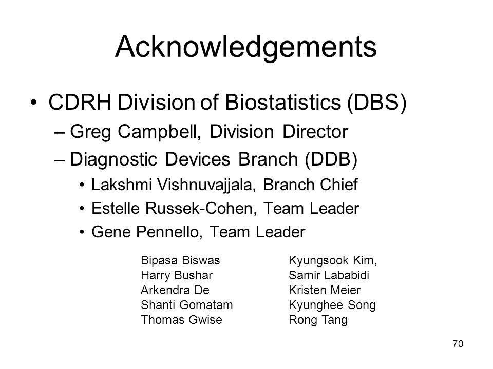 Acknowledgements CDRH Division of Biostatistics (DBS)
