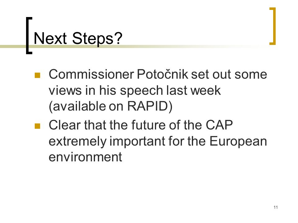 Next Steps Commissioner Potočnik set out some views in his speech last week (available on RAPID)