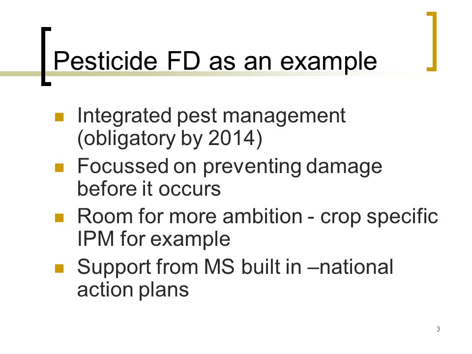 Pesticide FD as an example