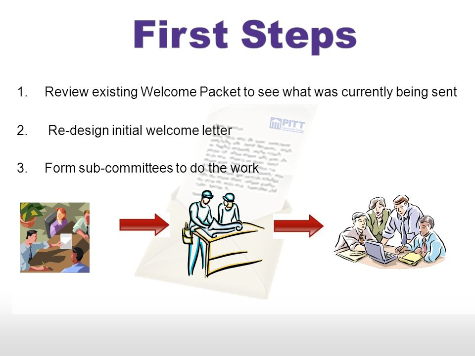 Review existing Welcome Packet to see what was currently being sent