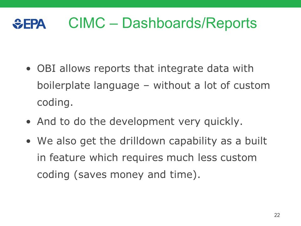 CIMC – Dashboards/Reports