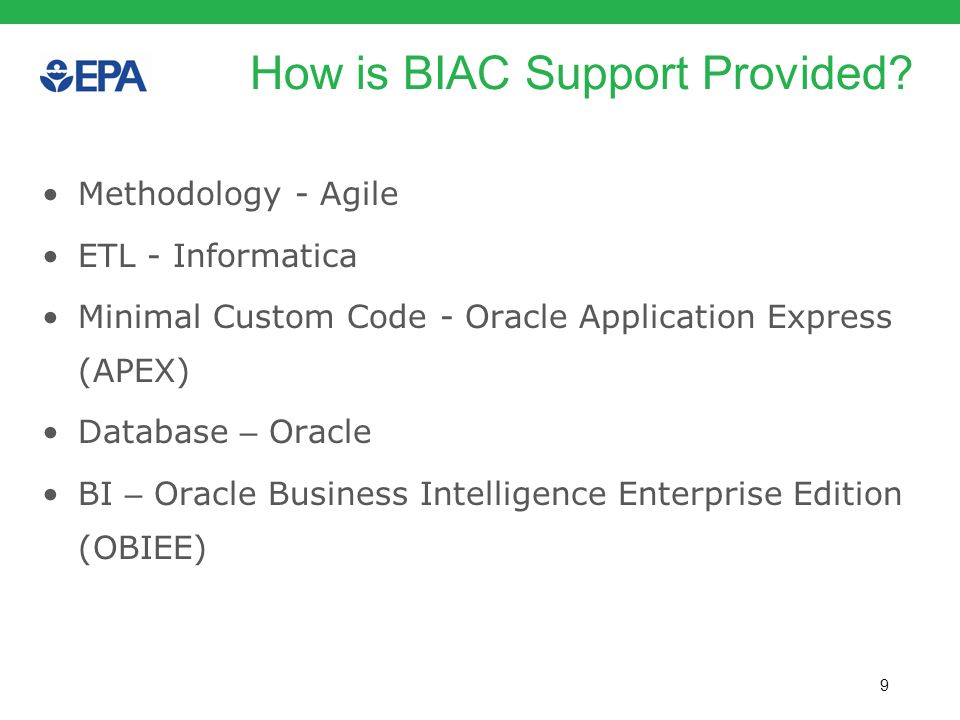 How is BIAC Support Provided