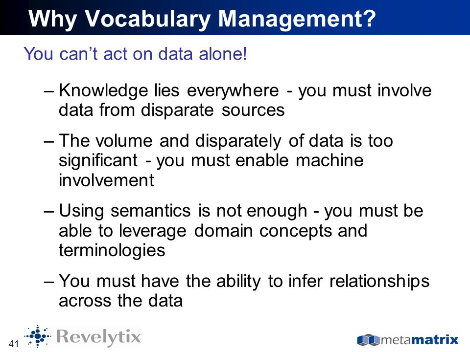 Why Vocabulary Management