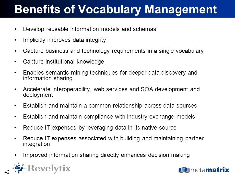 Benefits of Vocabulary Management