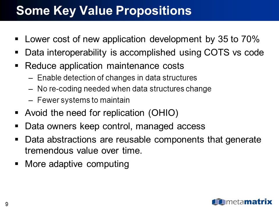 Some Key Value Propositions