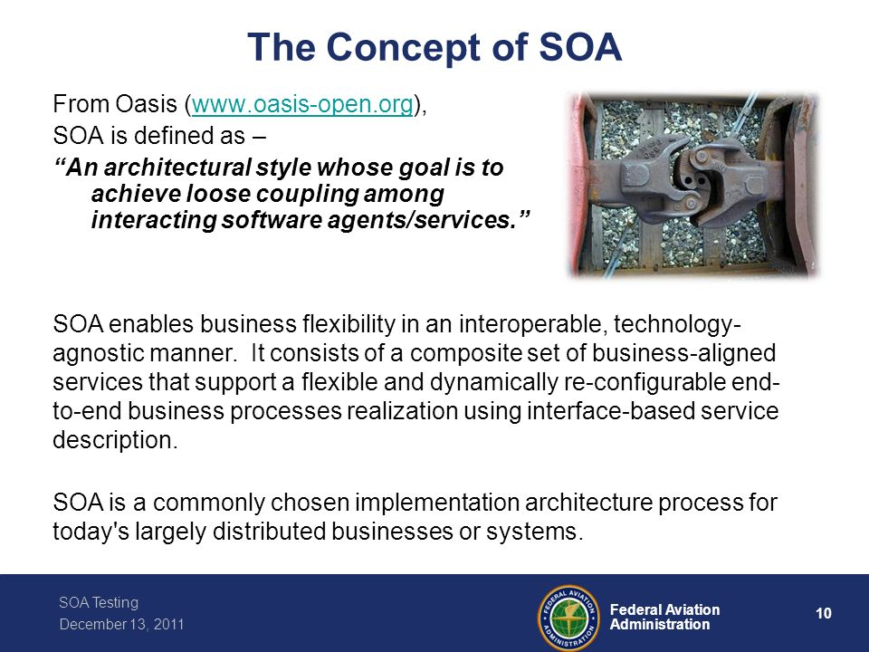 The Concept of SOA From Oasis (www.oasis-open.org),