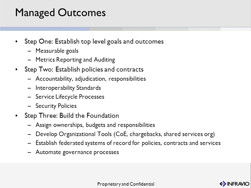 Managed Outcomes Step One: Establish top level goals and outcomes