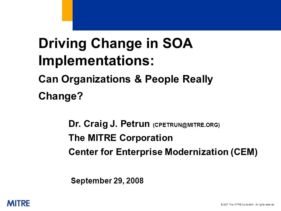 Driving Change in SOA Implementations: Can Organizations & People Really Change