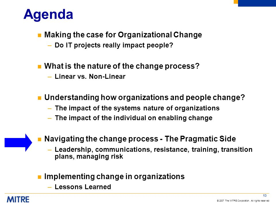 Agenda Making the case for Organizational Change