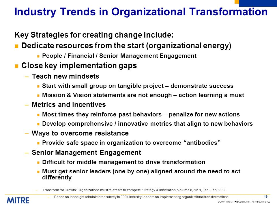Industry Trends in Organizational Transformation