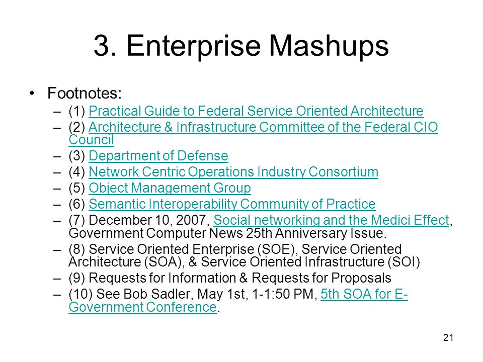 3. Enterprise Mashups Footnotes: