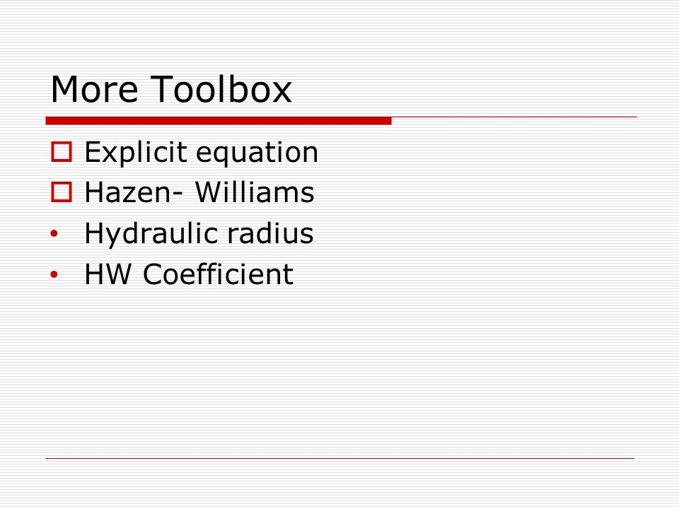 Toolbox reynolds number relative roughness darcy equation hp more toolbox explicit equation hazen williams hydraulic radius ccuart Gallery