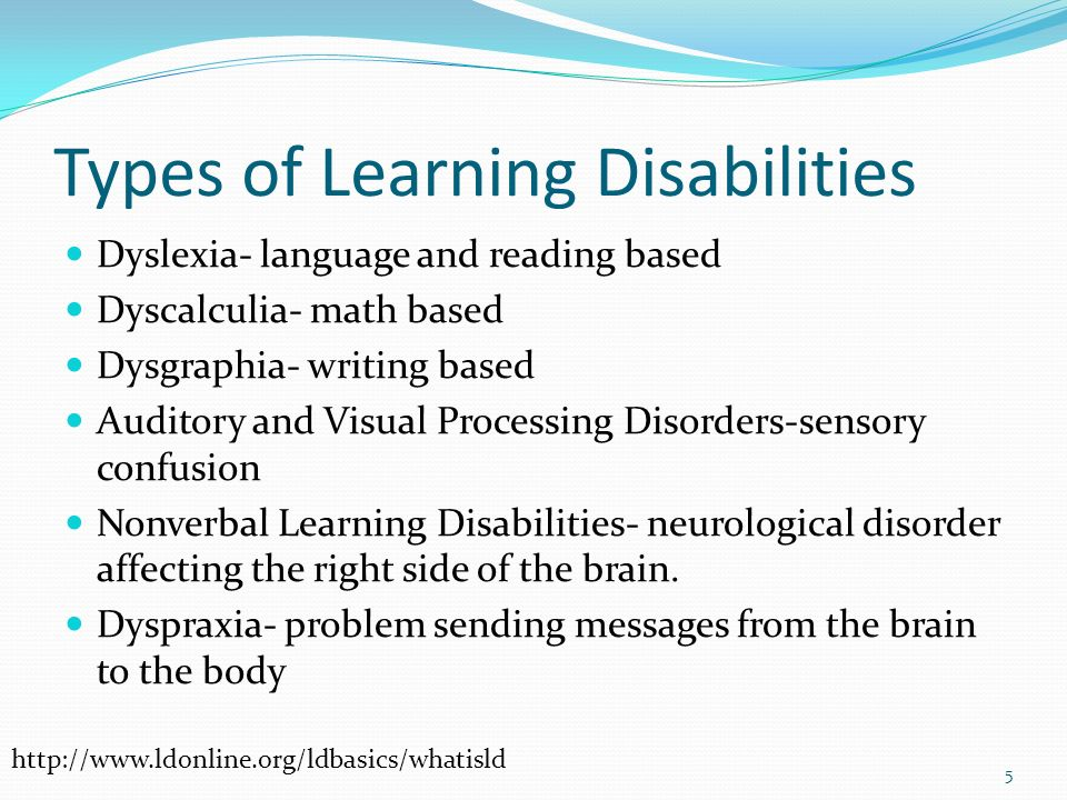 Types Of Learning Disabilities >> Learning Disabilities Ppt Video Online Download