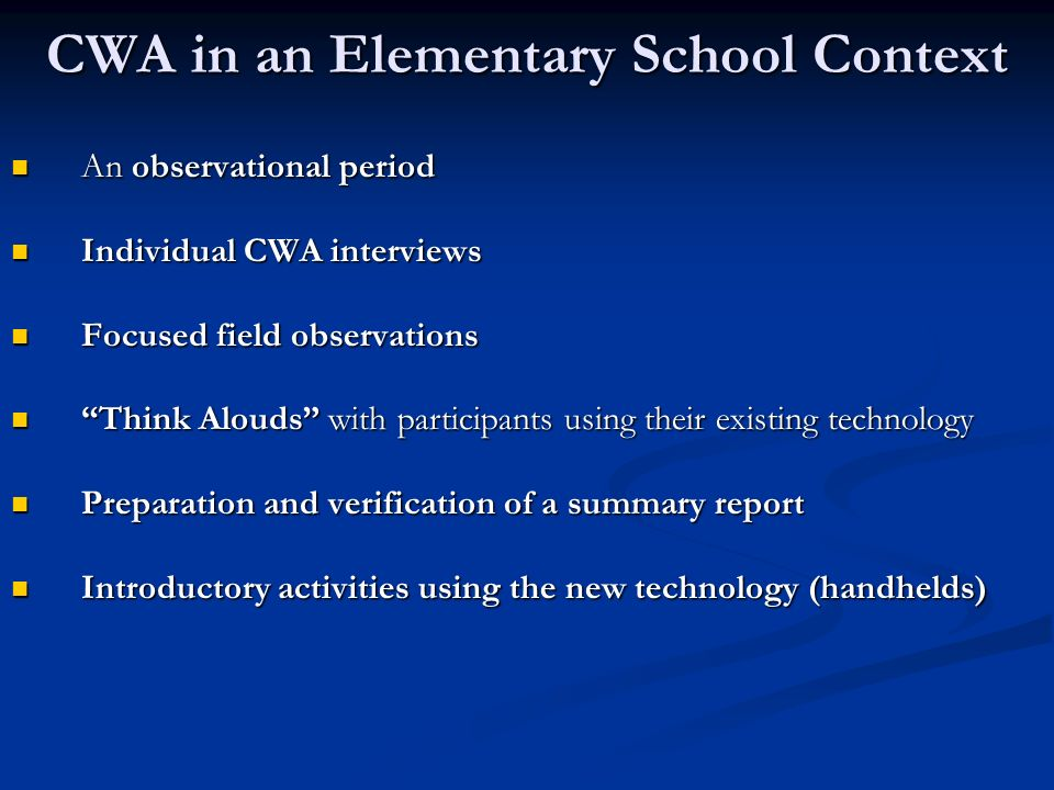 CWA in an Elementary School Context