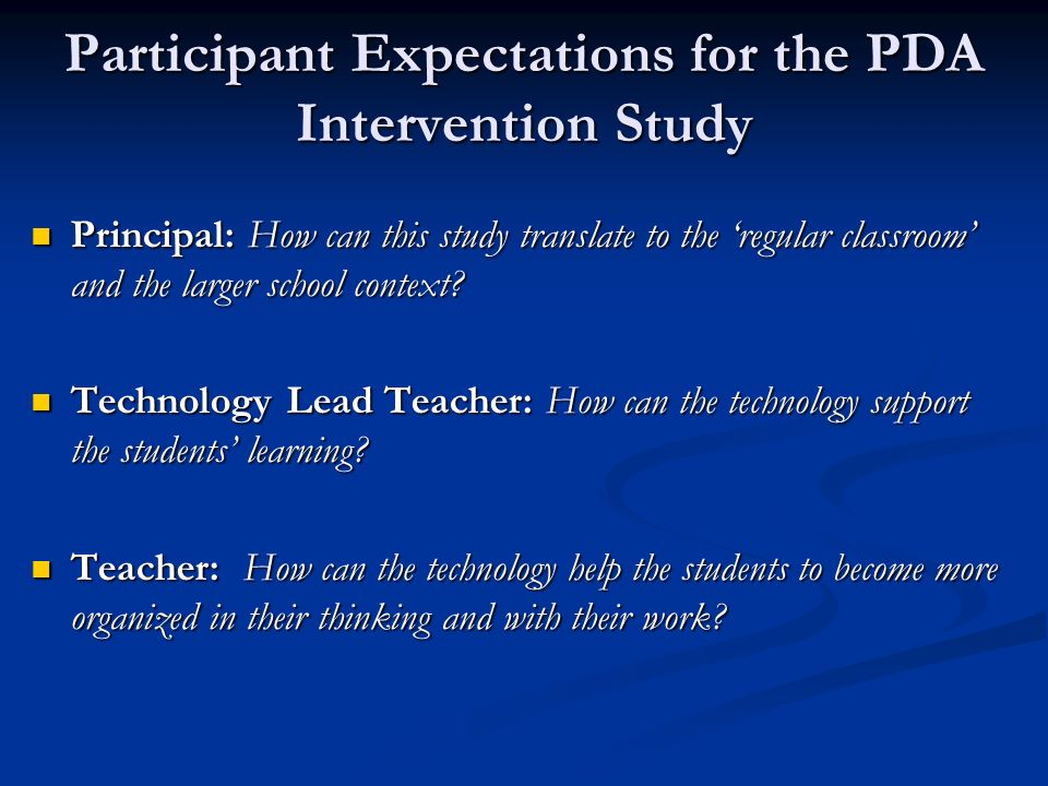 Participant Expectations for the PDA Intervention Study