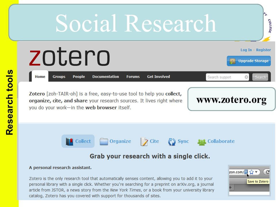 Social Research www.zotero.org Research tools