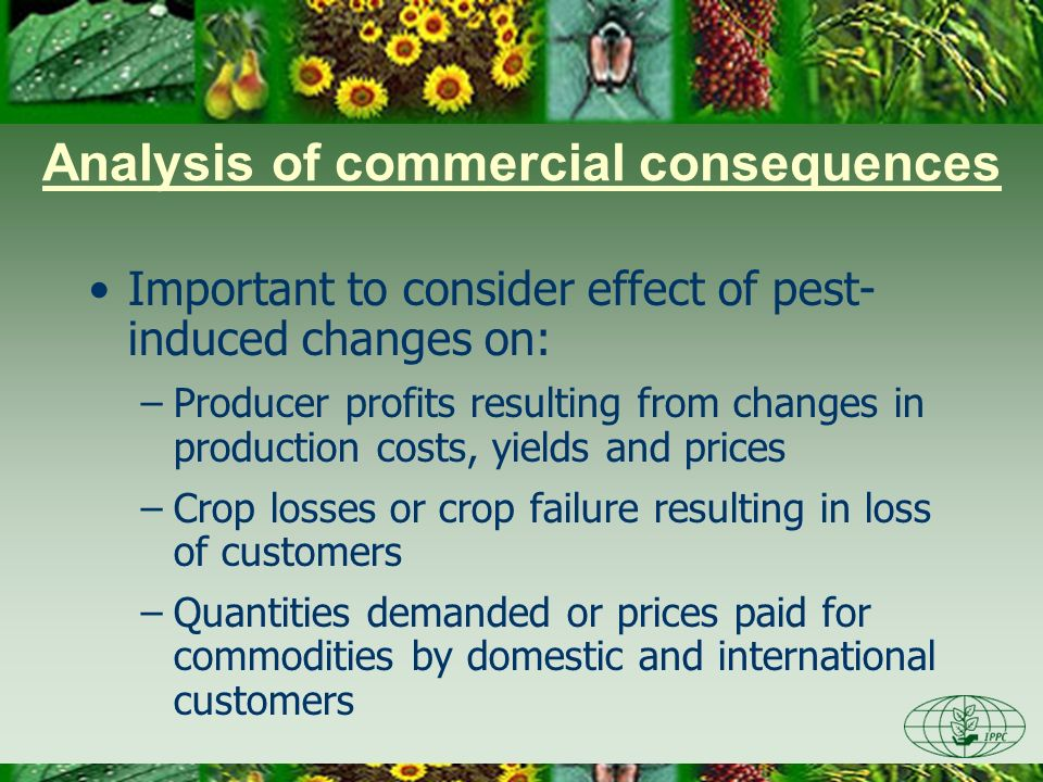 Analysis of commercial consequences