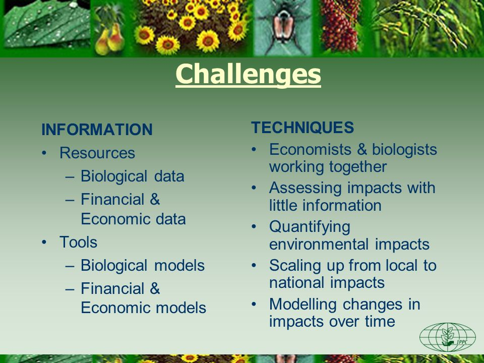 Challenges INFORMATION Resources Biological data