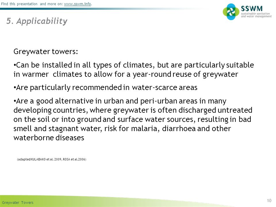 5. Applicability Greywater towers: