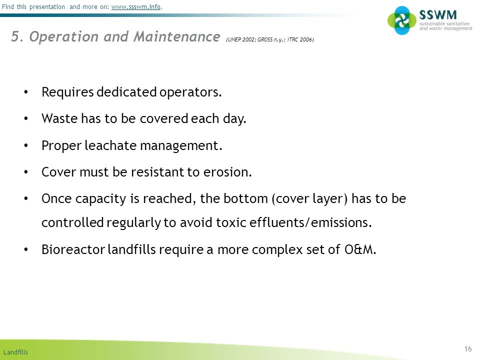 5. Operation and Maintenance (UNEP 2002; GROSS n.y.; ITRC 2006)