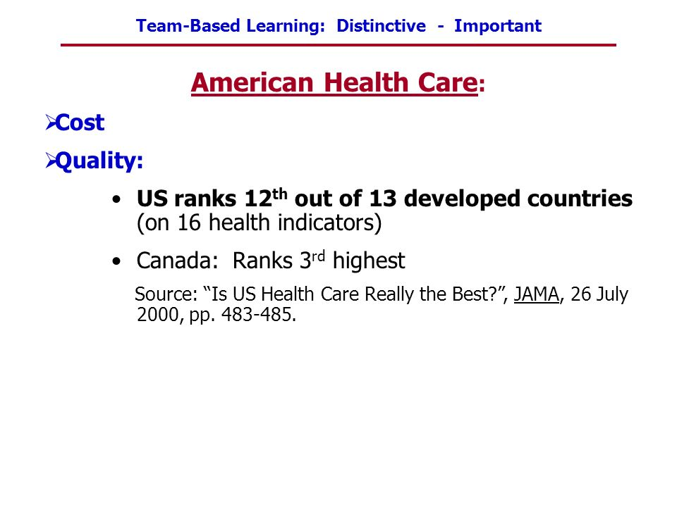American Health Care: Cost Quality: