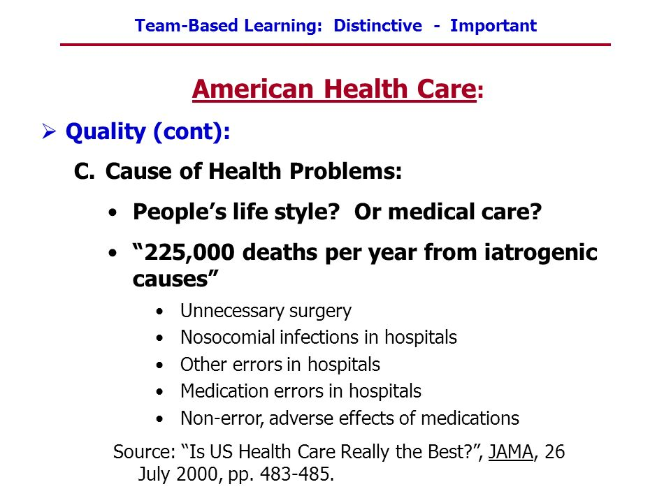 American Health Care: Quality (cont): Cause of Health Problems: