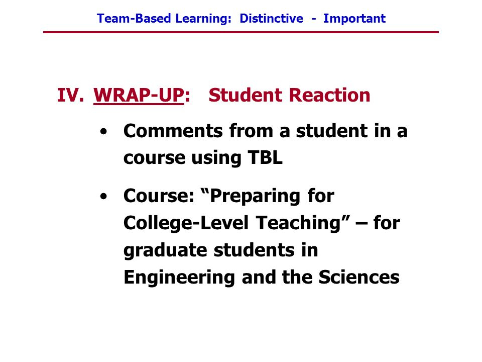 WRAP-UP: Student Reaction