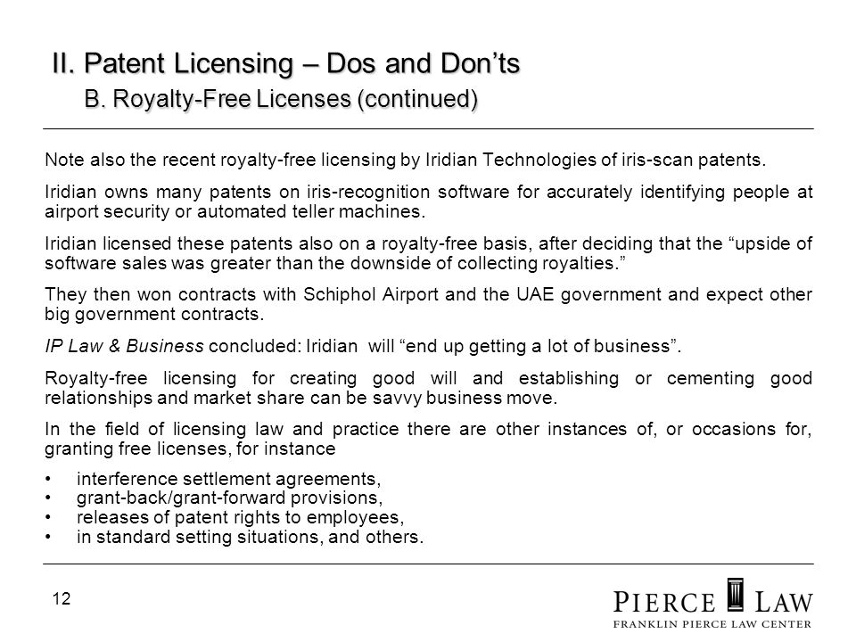 II. Patent Licensing – Dos and Don'ts. B